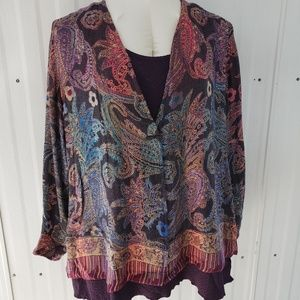 Soft Surroundings Paisely Jacket and Plum Tank